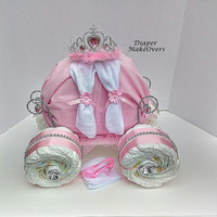 Princess Carriage - Princess Diaper Cake - Unique Baby Girl Baby Shower - Cinderella Carriage - Baby Shower Centerpiece