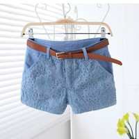 A 082914 u Lace Embroidery Stitching Casual Shorts