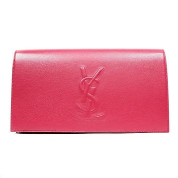Yves Saint Laurent Ysl Belle Du Jour Large Hot Pink Clutch Bag 361120