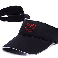 RHXING 100 Emoji Adjustable Visor Cap Embroidery Sun Hat Sports Visors