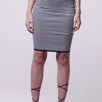 (als) Striped knit stiletto skirt