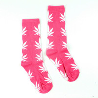 Men Casual Long Socks/ Red Weed