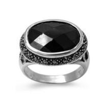 High Fashion Sterling Silver Sideways Oval Design Marcasite Ring with Black CZ
