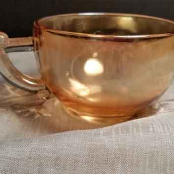 Amber Marigold Cup by Jeannette Egg Nog Carnival Glass Cup