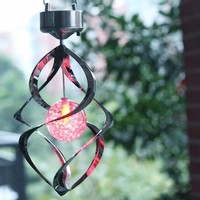 Rechargeable Battery Color Changing Solar Powered LED Windchimes Wind Spinner Outdoor Garden Courtyard Wind Chime
