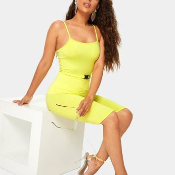 Yellow Buckle Waist Unitard  Romper