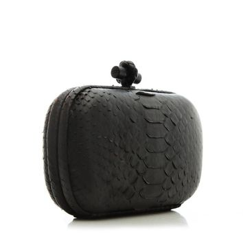 Bottega Veneta Knotted Long Black Python Clutch