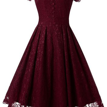 A| Chicloth Women Floral Lace Short Sleeve Vintage Lady Party Swing Bridesmaid Dress