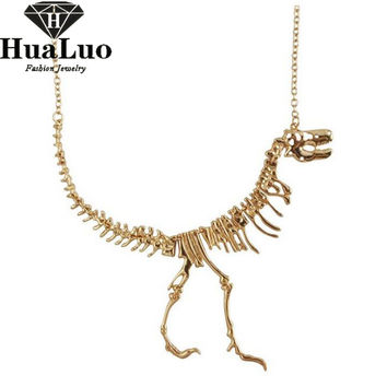 2016 Fashion Jewelry Gothic Tyrannosaurus Rex Skeleton Dinosaur Pendant Necklace 4 Colors Chain Choker Necklace For Women NW2942