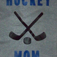 Hockey Mom Shirt featuring Crossed Hockey Sticks and Puck