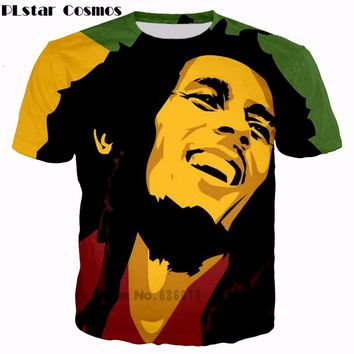 PLstar Cosmos 2017 summer Fashion new Hip hop T-shirts Reggae originator Bob Marley 3d print Men Women casual O-Neck t shirt