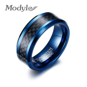 Modyle 2017 New Blue Tungsten Rings for Men Wedding Bands 8mm Men's Carbon Fiber Tungsten Carbide Men Ring Jewelry