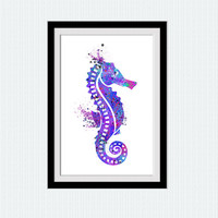 Sea horse print, watercolor poster, nautical art, sea horse decor, wall decoration, living room poster, colorful silhouette, nursery, W16