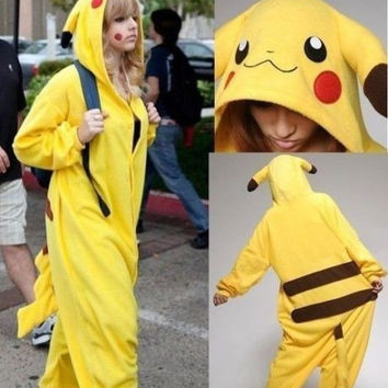 Pokemon Pikachu Unisex Adult Sleepwear Pajamas Halloween Carnival Christmas Japanese Cartoon Anime Cosplay Costume Flannel Robe