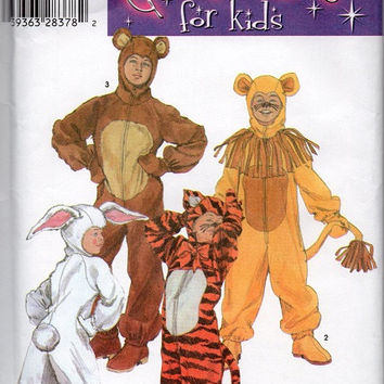 Halloween Costume Simplicity Sewing Pattern Kids Children Tiger Tigger Lion Bear Rabbit Hooded Onesuit One Piece Size 6-8