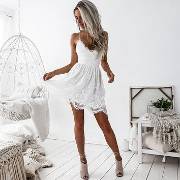 White V Neck Spaghetti Straps Lace Mini Dress Homecoming Dress