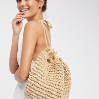 Free People Getaways Straw Backpack