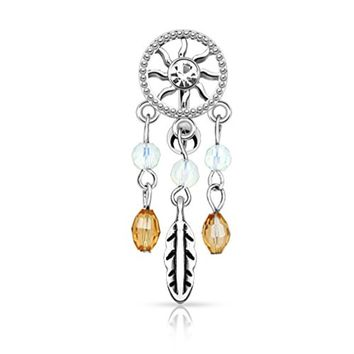 BodyJ4You  Top Mount Belly Button Ring Dreamcatcher Crystal Clear