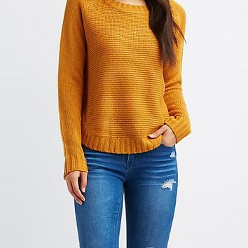 Pointelle Crew Neck Sweater | Charlotte Russe