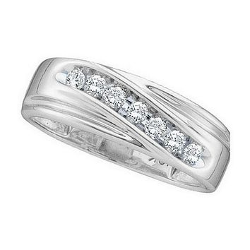 14kt White Gold Mens Round Channel-set Diamond Wedding Anniversary Band Ring 1/4 Cttw - FREE Shipping (US/CAN)