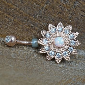 Flower Rose Gold Belly Button Ring with Opal