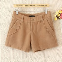Double-faced Pile Middle-rise Woolen Women Leisure Shorts,Cheap in Wendybox.com