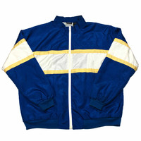 Vintage 90s Blue/White/Yellow Windbreaker Jacket Mens Size Medium