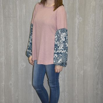 So Easy Print Sleeve Top - Blush