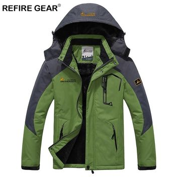 ReFire Gear Men's Winter Waterproof Outdoor Jacket Warm Windproof Fleece Hiking Jacket Man Sport Camping Skiing Windbreaker Coat