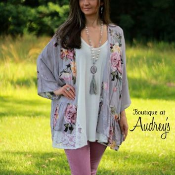 Gray and Mauve Floral Print Kimono - Boutique At Audrey's