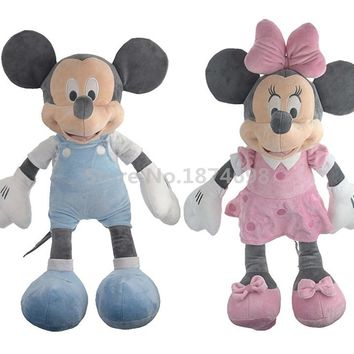 Mickey Minnie Plush Toy 50cm Pink Blue Cute Pelucia Stuffed Animals Soft Baby Kids Toys Dolls Children Gifts