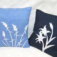 2 Pieces Set. Wild Grass Summer Lilies Blue Navy White Pillow Covers Set. Modern Botanical Floral Cushion Covers. Pick Your Color!