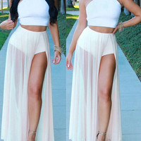 Solid color chiffon two-piece dress