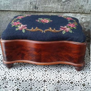 Antique Mahogany Victorian Needlepoint Stool, 1800's, Floral Needlepoint, Wood Mahogany, Ladies Stool, Victorian Ottoman, Blue, Excellent!