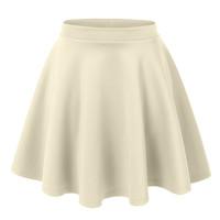 LE3NO Womens Basic Versatile Stretchy Flared Skater Skirt