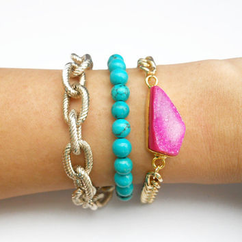 Endless Summer Druzy and Turquoise Bracelet Set of 3