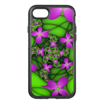 Modern Abstract Neon Pink Green Fractal Flowers OtterBox Symmetry iPhone 7 Case