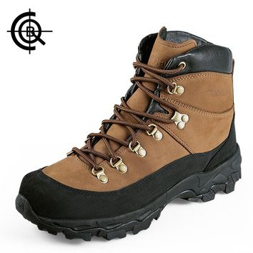 CQB Hiking Boots Men Middle Heel Real Leather Trekking Outdoor Shoes Trail Sneaker Shock Absorption Army Combat Boots LXZ0073