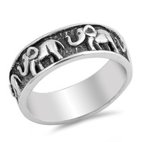 Sterling Silver Women's Ring Elephants 7MM