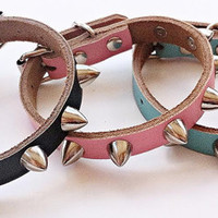 Spiked Dog Collar GENUINE LEATHER  -  Extra Small Genuine Leather  Pet Accessories