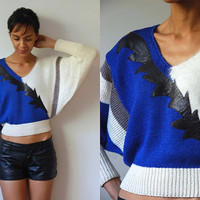 Vtg Leather Patched Angora Wool Blue Grey White Retro Crop Sweater