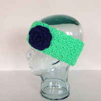 Seahawks headband, Crochet Headband, Crochet Earwarmer, flower crochet headband, flower crochet earwarmer, Green and blue headband