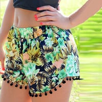 Floral Print Shorts with Pom Decor
