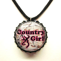 Camo Country Girl BrowningBottlecap Suede Leather Black Necklace