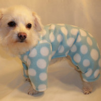 RockinDogs Aqua and White Polka Dot Fleece Pajamas for dogs