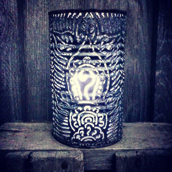 Luminary, Tin Can Lantern, Candle Cover, Shadow Caster Lamp, Mehndi Henna Pattern
