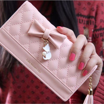 Womens Leather Bow Zipper Cat Wallet