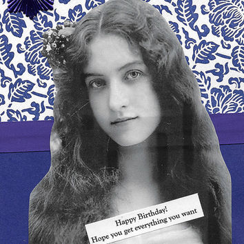 Lovely Purple Birthday Card for Someone Special - Victorian Edwardian Style Woman - You're My Gift