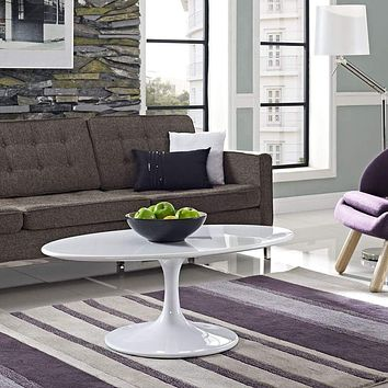 "Lippa 42"" Oval-Shaped Wood Top Coffee Table"