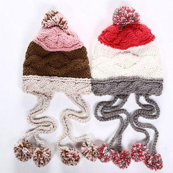 DCCKH3L Cute Casual Multicolor Tassel Hairball Manual Knit Beanie Hat Winter Accessories